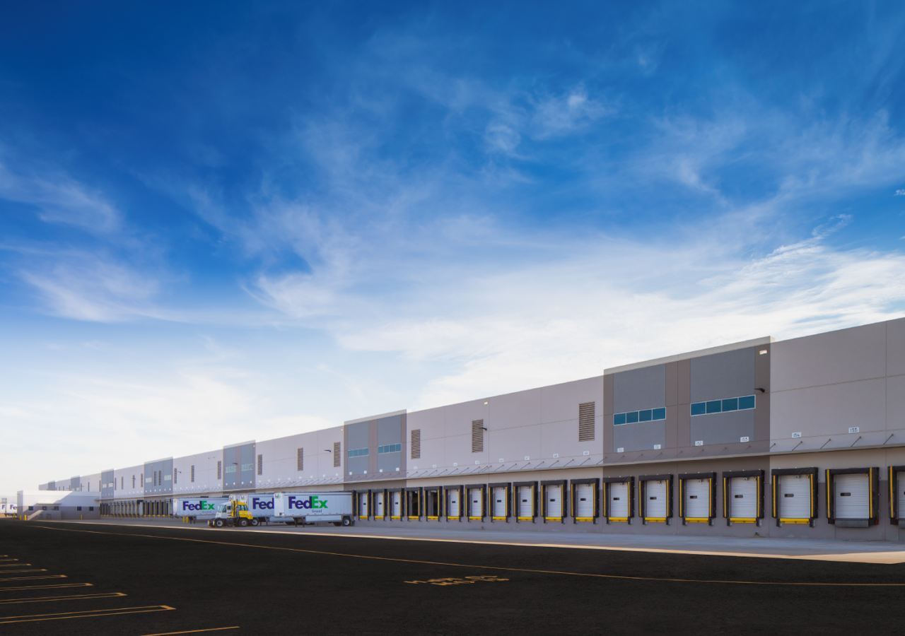 Docks and Blue Sky at FedEx Ground Distribution Facility Built by ARCO Construction in Arcadia