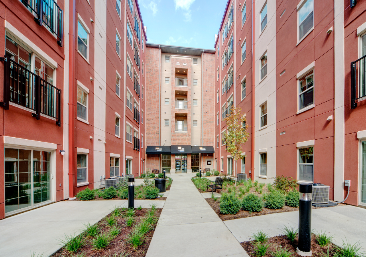 Courtyard and Exterior of Chauncey Square at Purdue University Multi-Family Student Housing Built by ARCO Construction