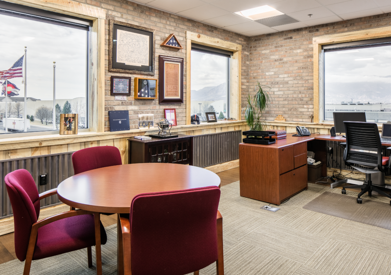 Office with Brick Walls at RMC Distributor Beverage Facility Built by ARCO Construction
