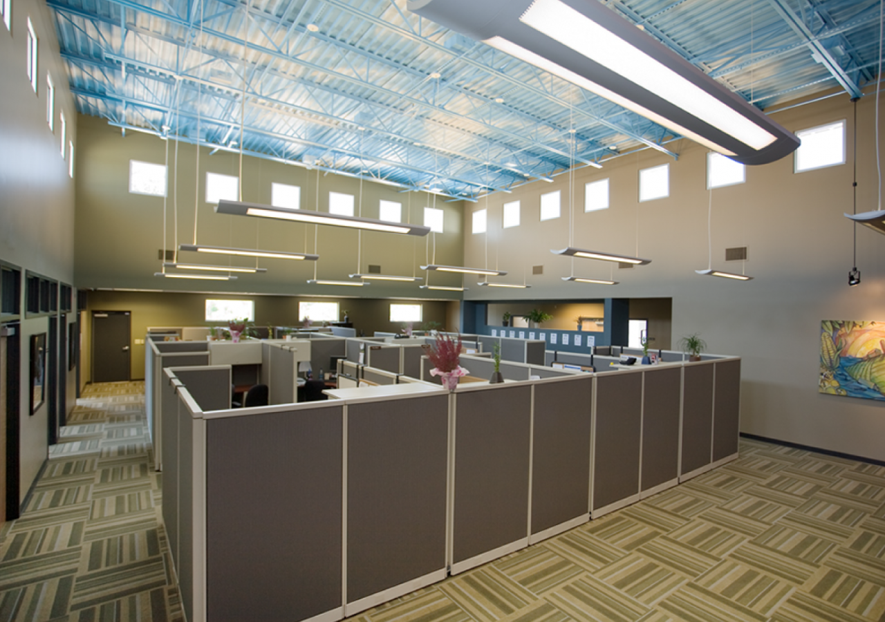 Open Office with Cubicles at Whole Foods Cold Storage Distribution Center Built by ARCO Construction