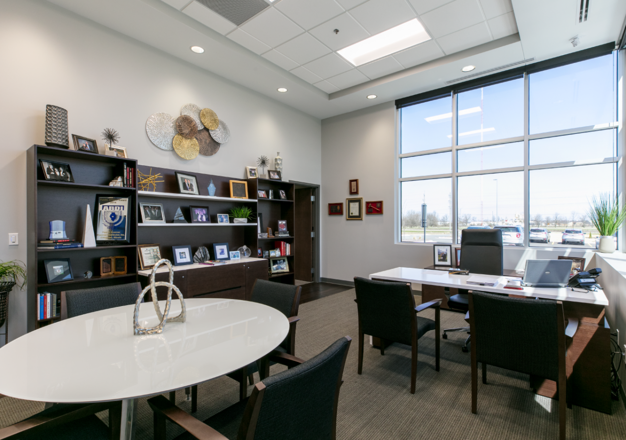 Office with Large Windows at Koerner Distributor Beverage Distribution Center Built by ARCO Construction