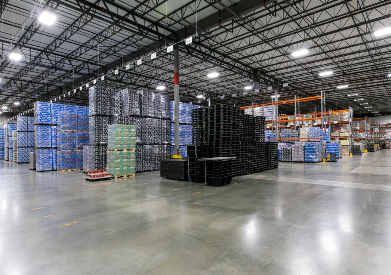 Warehouse with Beverage Products at Koerner Distributor Beverage Distribution Center Built by ARCO Construction
