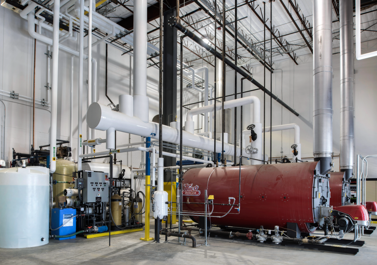 Pipes in Machine Room at ProPortion Foods Process/Cold Storage Facility Built by ARCO Construction