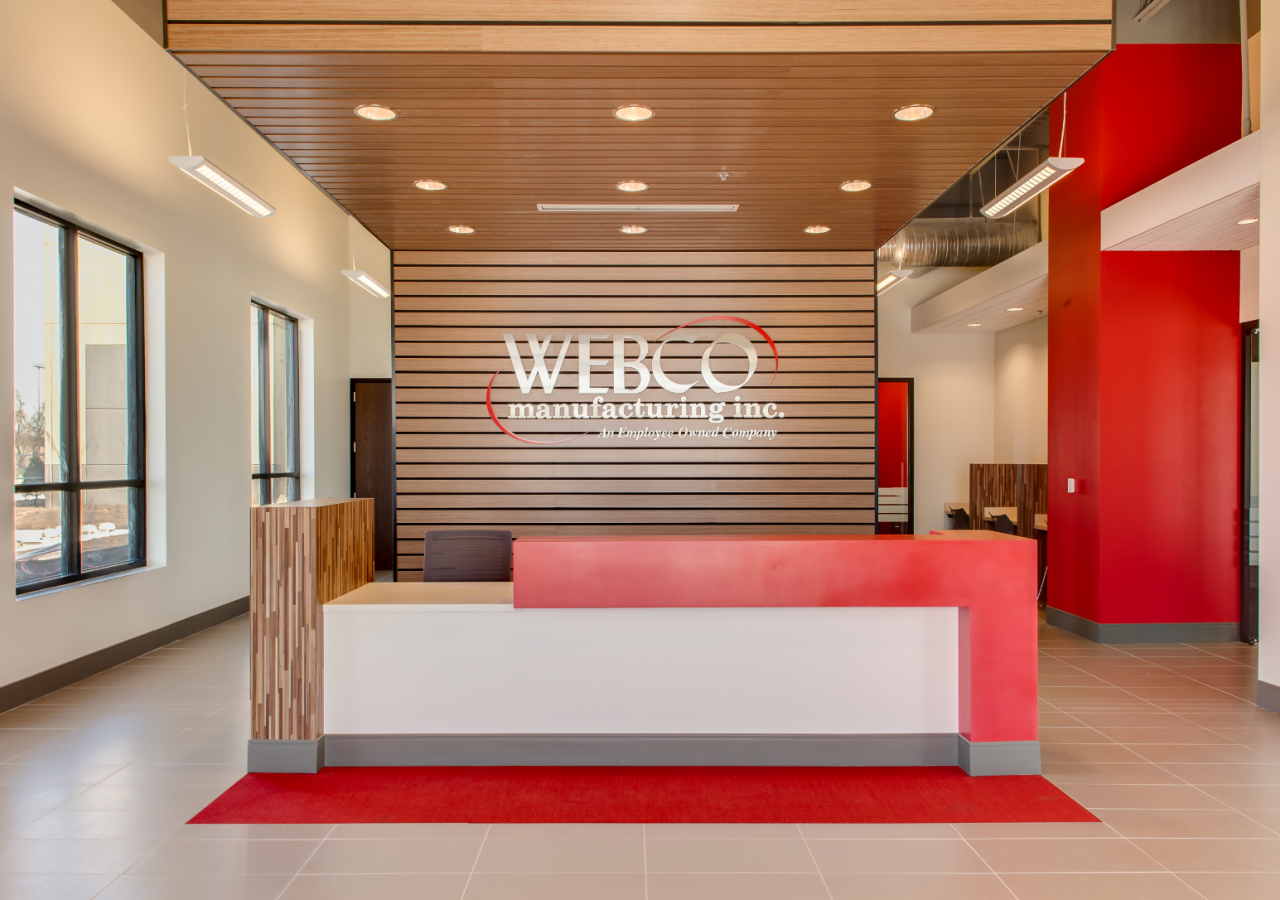 Front Desk with Wood at WEBCO Steel Manufacturing Facility Built by ARCO Construction